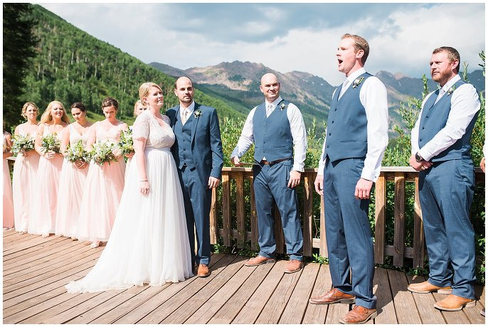 groomsmen singing josh groban wedding photo