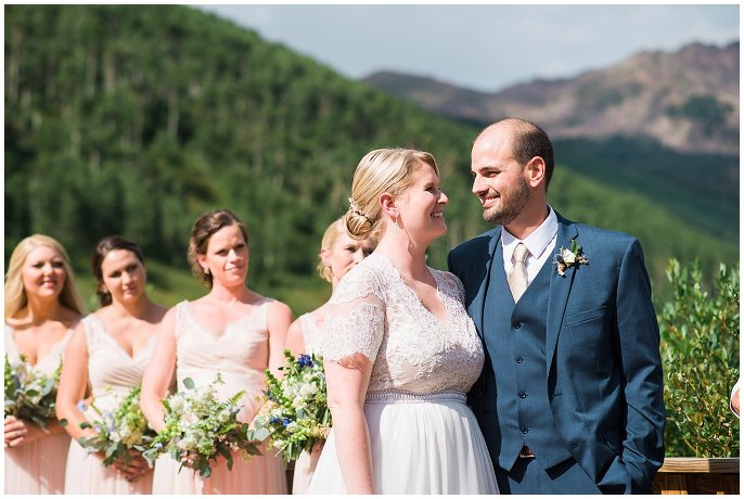 bride and groom at Colorado lakeside wedding photo
