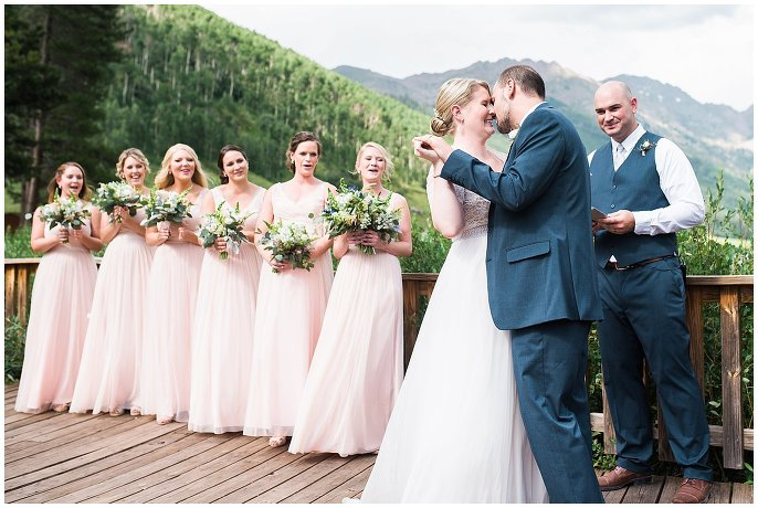 first kiss Colorado mountain wedding photo