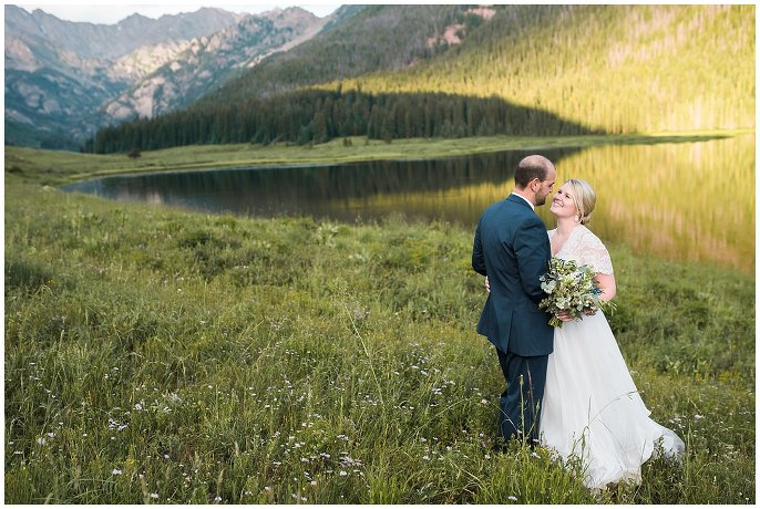 intimate couples portrait at mountain wedding photo
