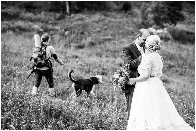 dog photo bomb at wedding photo