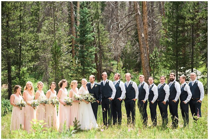 bridal party at Vail mountain wedding photo