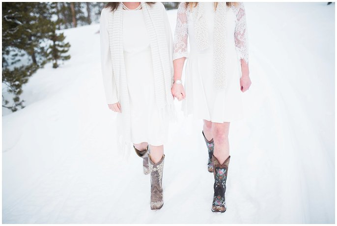 brides in short dresses and cowboy boots