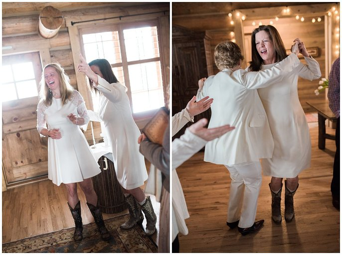 winter wedding ceremony in cabin photo