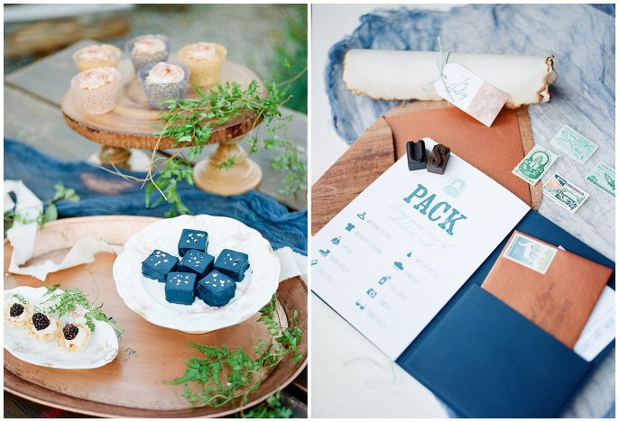 blue and copper wedding desserts