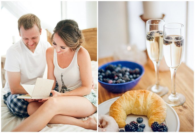 breakfast in bed wedding day photo