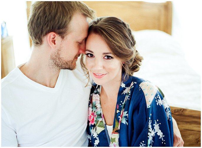bride in blue floral robe photo
