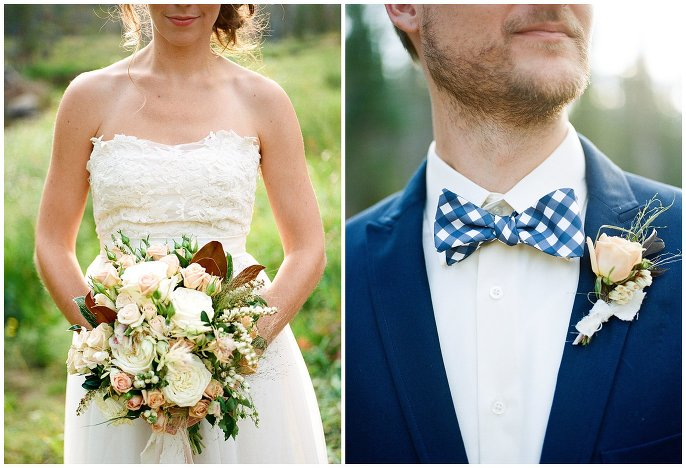 checkered bow tie and lace wedding dress photo