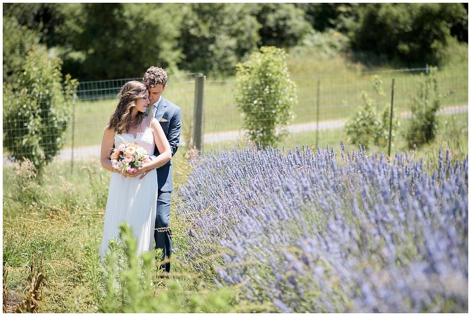 lavender bride and groom photo