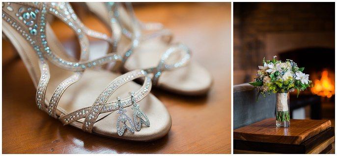 sparkly wedding shoes and earrings