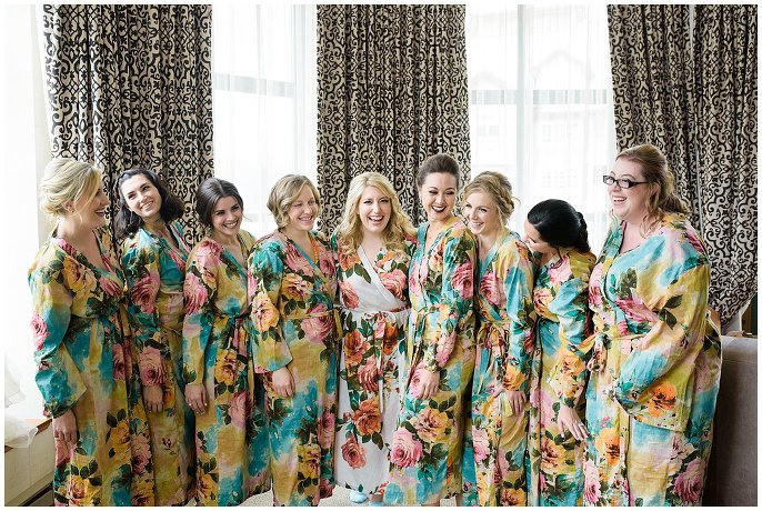 bridesmaids in matching wedding robes photo