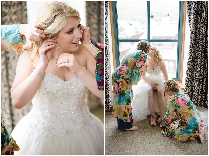 bride putting on earrings and shoes colorado wedding photo