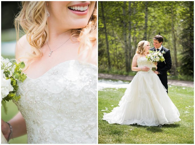 Bride and sparkly wedding dress photo